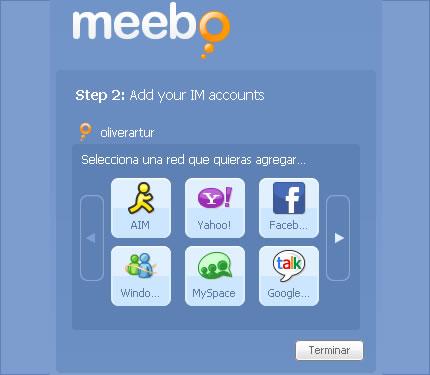 Agregar redes en Meebo en Español