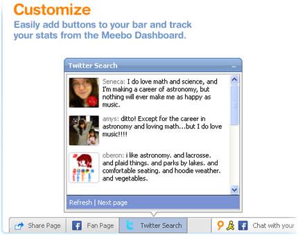 Personalizar botones y ver estadísticas con la barra de Meebo en Español
