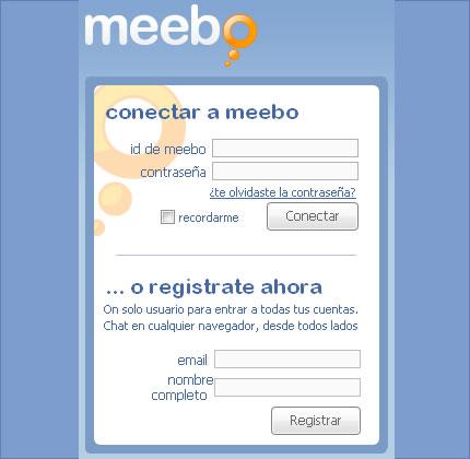 Conectar o registrarse en Meebo en Español